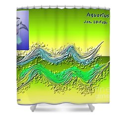 Shower Curtain featuring the digital art Aquarius By Alice Terrill And Will Baumol by The Art of Alice Terrill