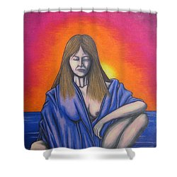 Shower Curtain featuring the drawing Aquarius by Michael  TMAD Finney