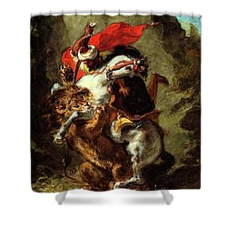 Shower Curtain featuring the painting Arab Horseman Attacked By A Lion by Eugene Delacroix
