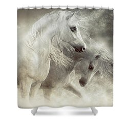Shower Curtain featuring the digital art Arabian Horses Sandstorm by Shanina Conway