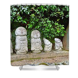 Arashiyama Street Buddah Statues Shower Curtain by Eva Kaufman