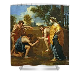 Arcadian Shepherds Shower Curtain by Nicolas Poussin