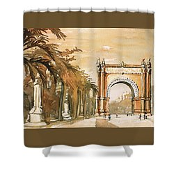 Shower Curtain featuring the painting Arch- Barcelona, Spain by Ryan Fox