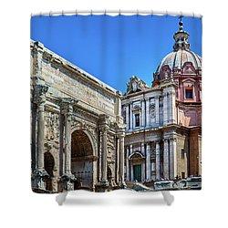 Shower Curtain featuring the photograph Arch Of Septimius Severus At The Roman Forum by Eduardo Jose Accorinti