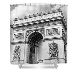 Arch Of Triumph - Paris - Black And White Shower Curtain
