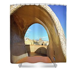 Shower Curtain featuring the photograph Arch On The Rooftop Of The Casa Mila by Colleen Kammerer