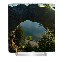 Arch Rock In The Morning Shower Curtain by Keith Stokes
