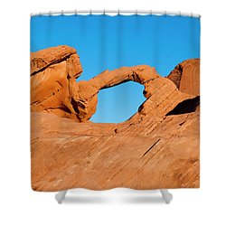 Arch Rock Shower Curtain by Rae Tucker