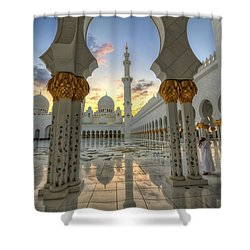Arch Sunset Temple Shower Curtain by John Swartz