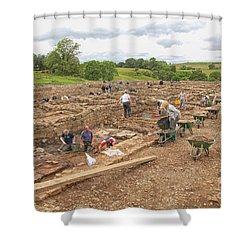 Archaeologists At Work At Roman Vindolanda Shower Curtain