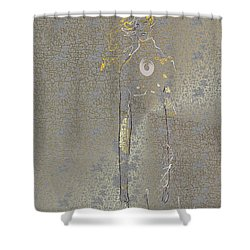 Shower Curtain featuring the mixed media Archangel Barachiel  by Larry Talley