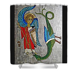 Archangel Michael And The Dragon    Shower Curtain by Sarah Loft