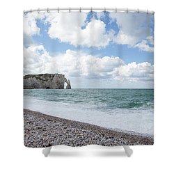 Arch At Etretat Beach, Normandie Shower Curtain by Yoel Koskas