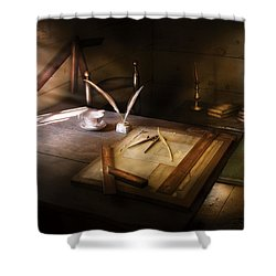 Architect - The Drafting Table  Shower Curtain by Mike Savad