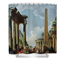Architectural Capriccio With A Preacher In The Ruins Shower Curtain by Giovanni Paolo Pannini or Panini