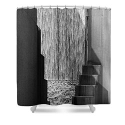 Architectural Waterfall In Black And White Shower Curtain