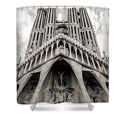 Architecture Antoni Gaudi La Sagrada Familia Barcelona Spain Sepia  Shower Curtain