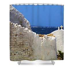 Shower Curtain featuring the photograph Architecture Mykonos Greece 2 by Bob Christopher