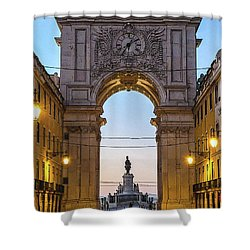 Arco Da Rua Augusta At Sunrise Shower Curtain