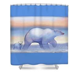 Arctic Bears, Journeys Bright Shower Curtain by Tracy Herrmann