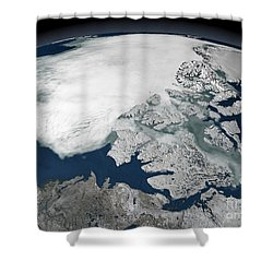 Arctic Sea Ice Above North America Shower Curtain by Stocktrek Images