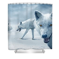 Arctic Wolves Shower Curtain by Mal Bray