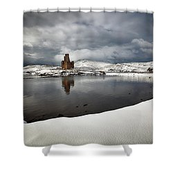 Shower Curtain featuring the photograph Ardvreck Castle In Winter by Grant Glendinning