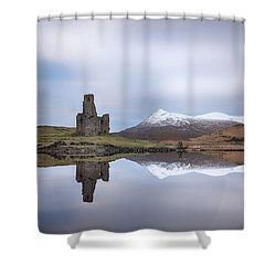 Shower Curtain featuring the photograph Ardvreck Castle Reflection by Grant Glendinning