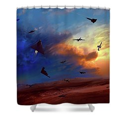 Shower Curtain featuring the painting Area 51 Groom Lake by Dave Luebbert