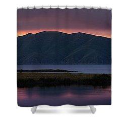 Aregunyats Range And Sevan Lake At Sunset, Armenia Shower Curtain by Gurgen Bakhshetsyan