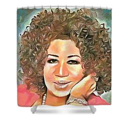 Aretha Franklin Shower Curtain by Wayne Pascall