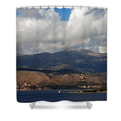 Argostoli Mountains Shower Curtain
