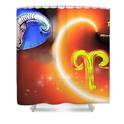 Shower Curtain featuring the painting Aries by The Art of Alice Terrill