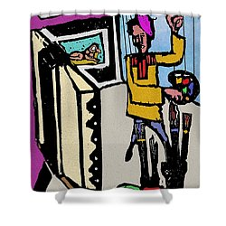 Shower Curtain featuring the digital art Artiste In The Studio by Ted Azriel