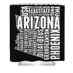 Arizona Black And White Word Cloud Map Shower Curtain by Naxart Studio