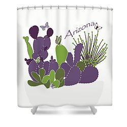 Shower Curtain featuring the digital art Arizona Cacti by Methune Hively