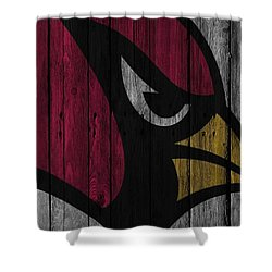 Arizona Cardinals Wood Fence Shower Curtain by Joe Hamilton