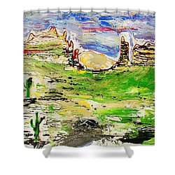 Shower Curtain featuring the painting Arizona Skies by J R Seymour