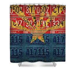 Arizona State Flag Vintage License Plate Art Shower Curtain by Design Turnpike