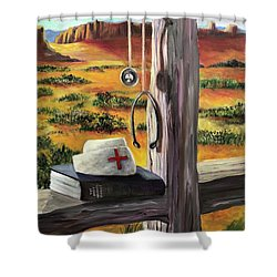 Shower Curtain featuring the painting Arizona The Nurse And Hope by Randol Burns