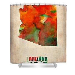 Arizona Watercolor Map Shower Curtain by Naxart Studio