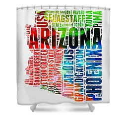 Arizona Watercolor Word Cloud Map  Shower Curtain by Naxart Studio