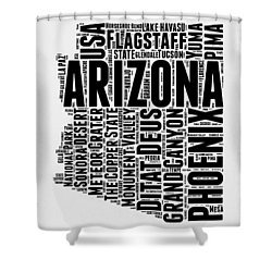 Arizona Word Cloud Map 2 Shower Curtain by Naxart Studio