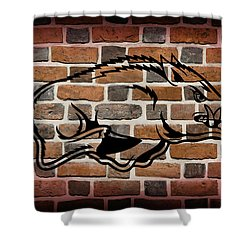 Arkansas Razorbacks Brick Wall Shower Curtain