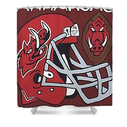 Arkansas Razorbacks Shower Curtain by Jonathon Hansen