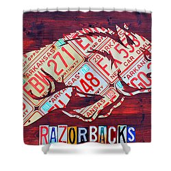Superior Arkansas Razorbacks Recycled Vintage License Plate Art Sports Team Logo Shower  Curtain
