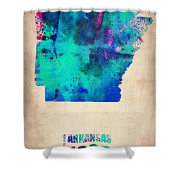 Arkansas Watercolor Map Shower Curtain by Naxart Studio