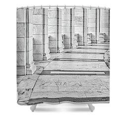 Shower Curtain featuring the photograph Arlington Amphitheater Arches And Columns II by Susan Candelario