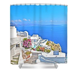 Armeni Village Santorini Shower Curtain