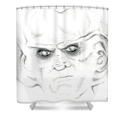 Shower Curtain featuring the drawing Armin by Kim Sy Ok
